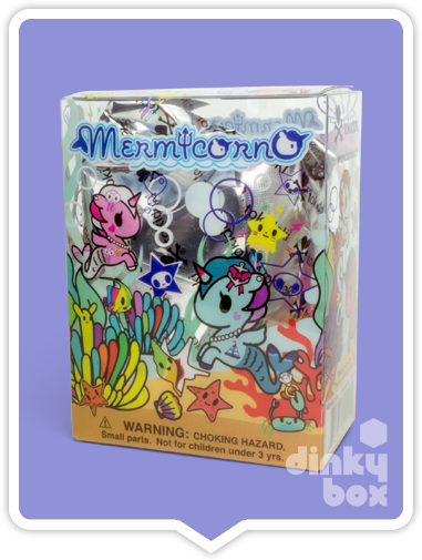 Tokidoki Mermicorno S1 blind box packaging. Tokidoki Mermicorno blind box and open choice mini figures available from your friendly dinkybox UK store.
