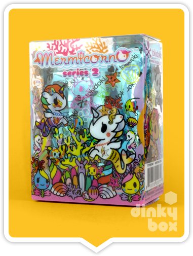 Tokidoki Mermicorno S2, blind boxed and open choice mini figures available to purchase in the UK. Here we have the very nicely illustrated Mermicorno blind box packaging.