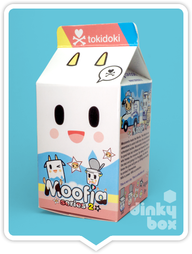 Tokidoki Moofia S2, blind boxed packaging - beautifully design to look exactly like a very adorable milk carton.