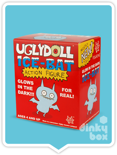 "OPEN BOX Uglydoll Ice Bats : 3"" Yellow GID Ice Bat mini figure (complete with all original packaging) - moosedinky"