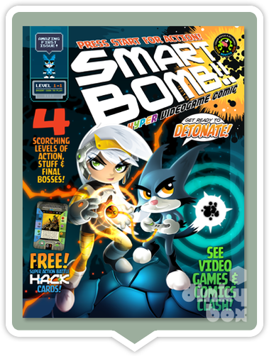 "Smart Bomb Comic Level 1-1 : From the mind of illustrator Wil Overton & his creative mates. 44 8.25"" x 10.75"" full colour beautifully illustrated multi-age comic - moosedinky"