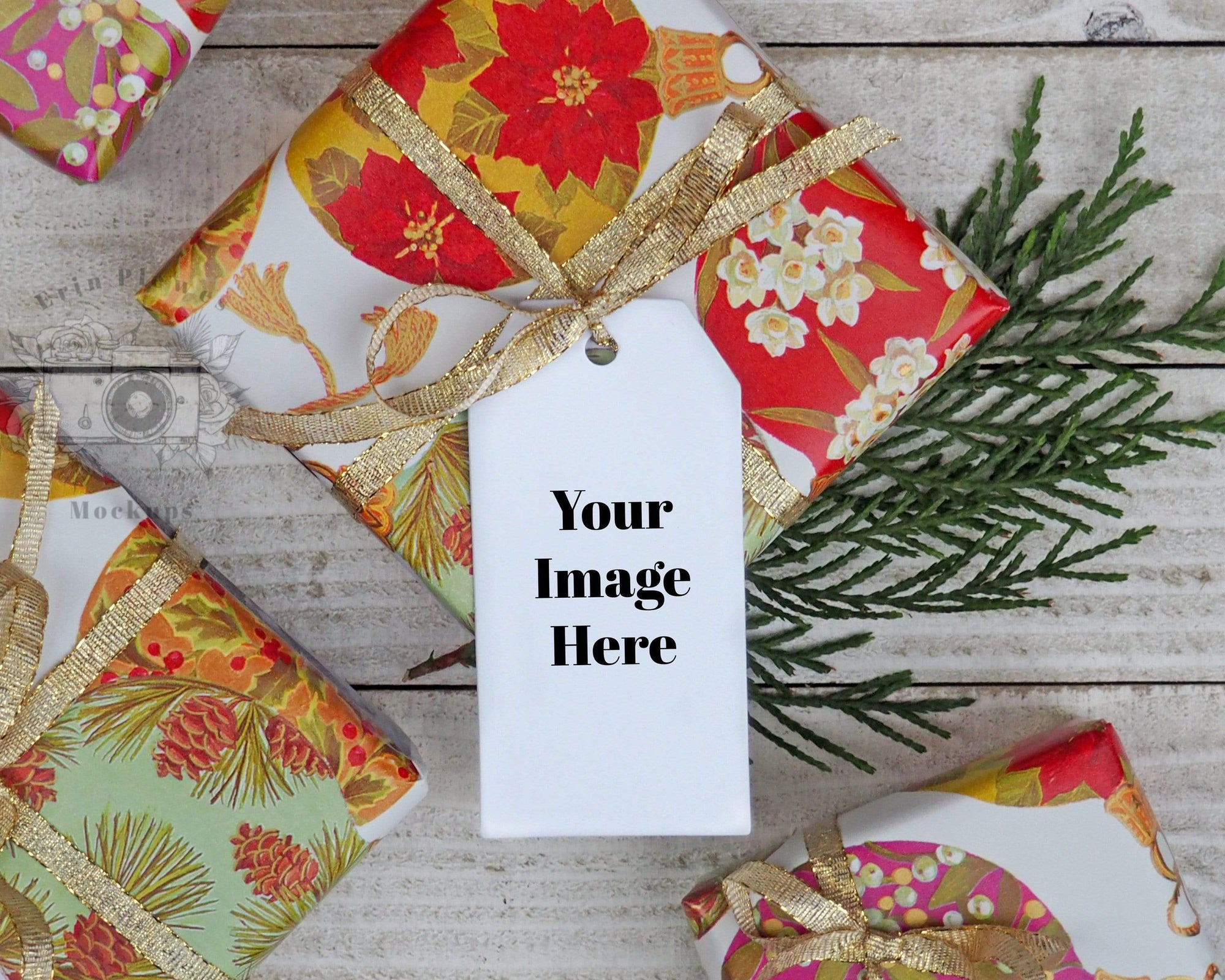 Erin Plewes Mockups Mockup Christmas gift tag mockup, Holiday present mock-up with thank you card label for lifestyle photo, JPG and PNG instant Digital Download