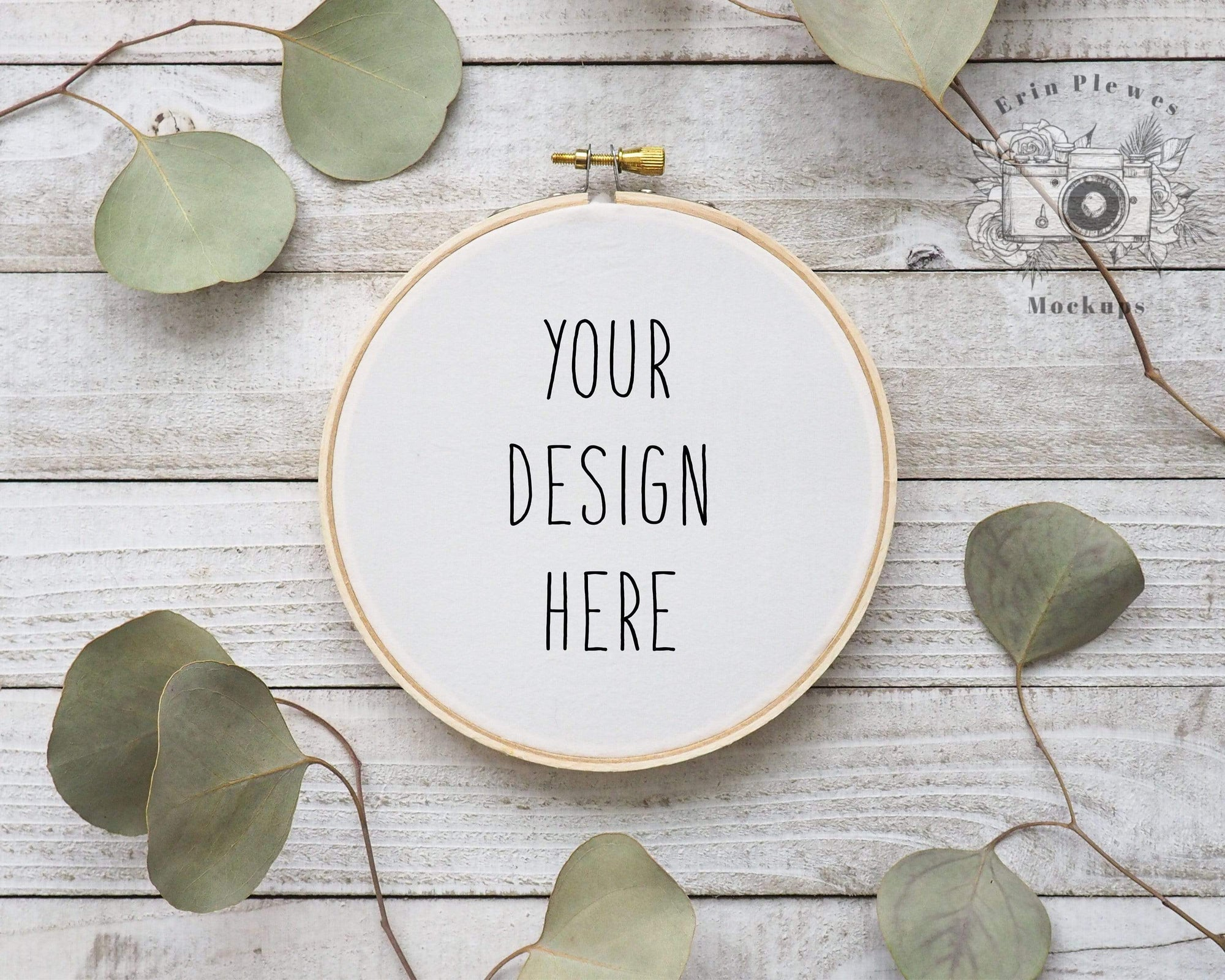 Erin Plewes Mockups Cross Stitch Mockup, Embroidery hoop mockup with eucalyptus on rustic gray wood,  Sewing Mock-up, JPG Digital Download Template