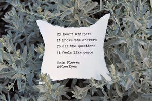 """My Heart Whispers"" Green Leaves Inspirational Peace Poem 