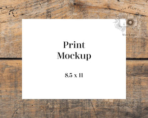 Erin Plewes Mockups 8.5 x 11 Paper Mockup, 8.5x11 Print mockup on brown farmhouse rustic wood, Minimal mock up Jpeg Instant Digital Download