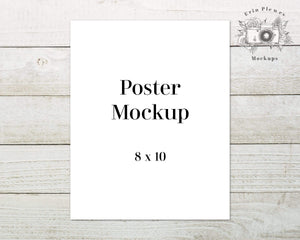 Erin Plewes Mockups 8x10 Print Mockup, Poster mockup on white farmhouse style white boards rustic wood, Minimal mock up, Jpeg Instant Digital Download