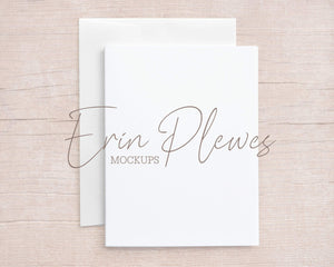 Erin Plewes Mockups A2 Card Mockup with White Envelope on Beige Wood, Thank You Card Mock Up, Invite Flat Lay for Rustic Wedding, Jpeg Instant Digital Download