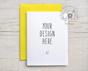 Erin Plewes Mockups A2 Card Mockup Yellow Envelope, Greeting Card Mock Up Vertical, Invitation Flat Lay Stock Photo, Jpeg Instant Digital Download