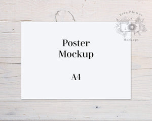 Erin Plewes Mockups A4 Print Mockup, Horizontal poster mockup on white farmhouse rustic wood , Clean minimal mock up Jpeg Instant Digital Download Template