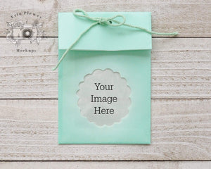 Erin Plewes Mockups Bag Mockup, Green Wedding Favor Mock Up, Candy Bag Mock-up Stock Photo, Jpeg Instant Digital Download Template