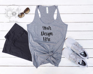 Erin Plewes Mockups Bella Canvas Gray 8430 Mockup, Bella Canvas Grey Tank Top Mock Up, Flatlay Mock-up, Instant Digital Download Template Photo
