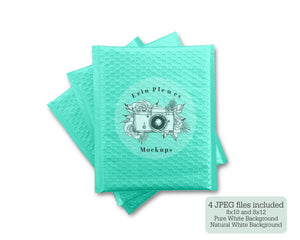 Erin Plewes Mockups Bubble Mailer Mockup, Turquoise Poly Mailer Mock Up, Green Bag Stock Photo, Jpeg Instant Digital Download Template