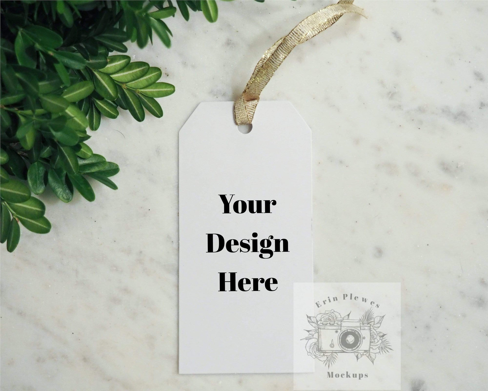 Erin Plewes Mockups Gift Tag Mockup, Hang Tag Mock Up for thank you gift bags, Minimalist template for your label design