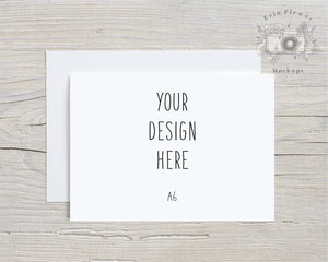 Erin Plewes Mockups Greeting card mockup with white envelope A6, Invitation mockup for rustic wedding size A-6, Lifestyle stock photo Jpeg Template