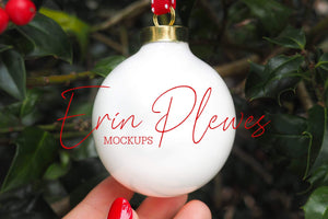 Erin Plewes Mockups Ornament Mockup, Christmas Ball Ornament Mock-up, Ornament Mock Up Stock Photo, Instant Digital Download Template Jpeg