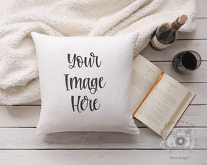 Erin Plewes Mockups Pillow Mockup, Square pillow mockup with blanket wine and book for lifestyle stock photography, White pillow mock up jpeg digital download