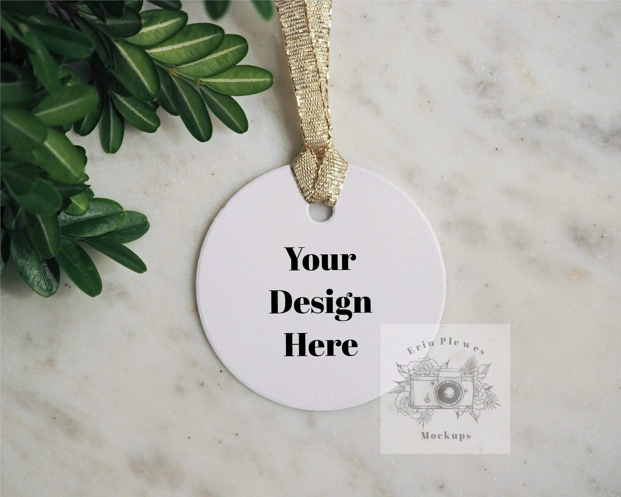 Erin Plewes Mockups Round gift tag mockup, Label mock-up for thank you gift and present flat lay for lifestyle photo, JPG instant Digital Download