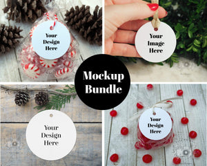 Erin Plewes Mockups Round Tag Mockup Bundle, Christmas label mock up bundle for holiday present stock photography, Jpeg Instant Digital Download Template