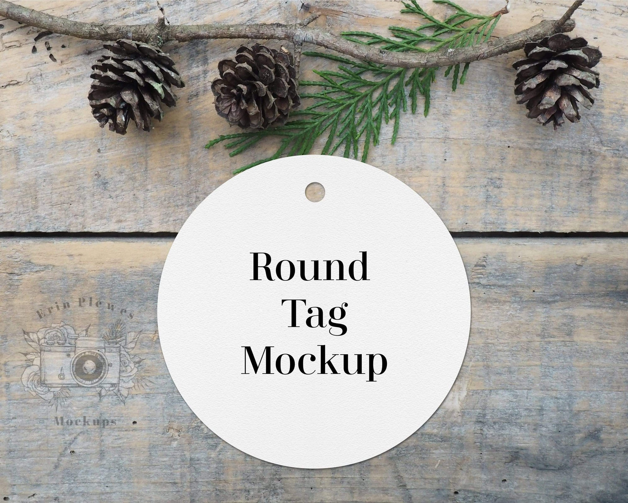 Erin Plewes Mockups Round tag mockup, Christmas gift tag mock up for present labels and stock photography, Jpeg instant Digital Download