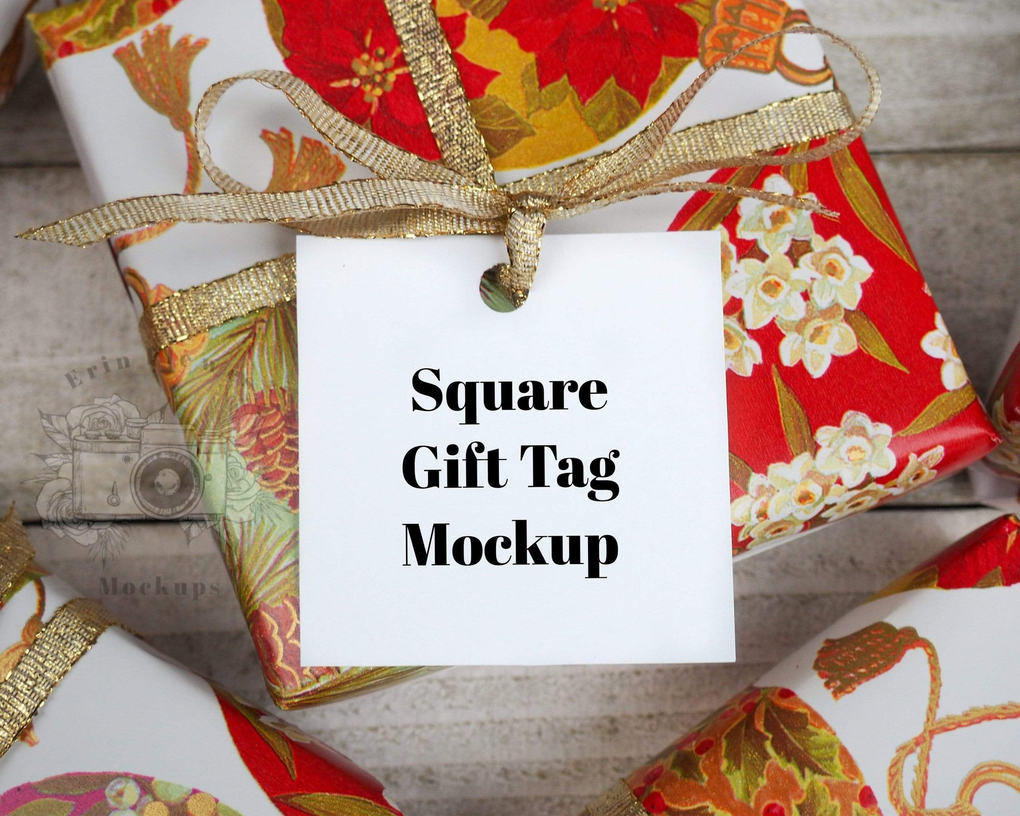 Erin Plewes Mockups Square gift tag mockup, Christmas label mock up for presents and Wedding stock photography, Jpeg Instant Digital Download