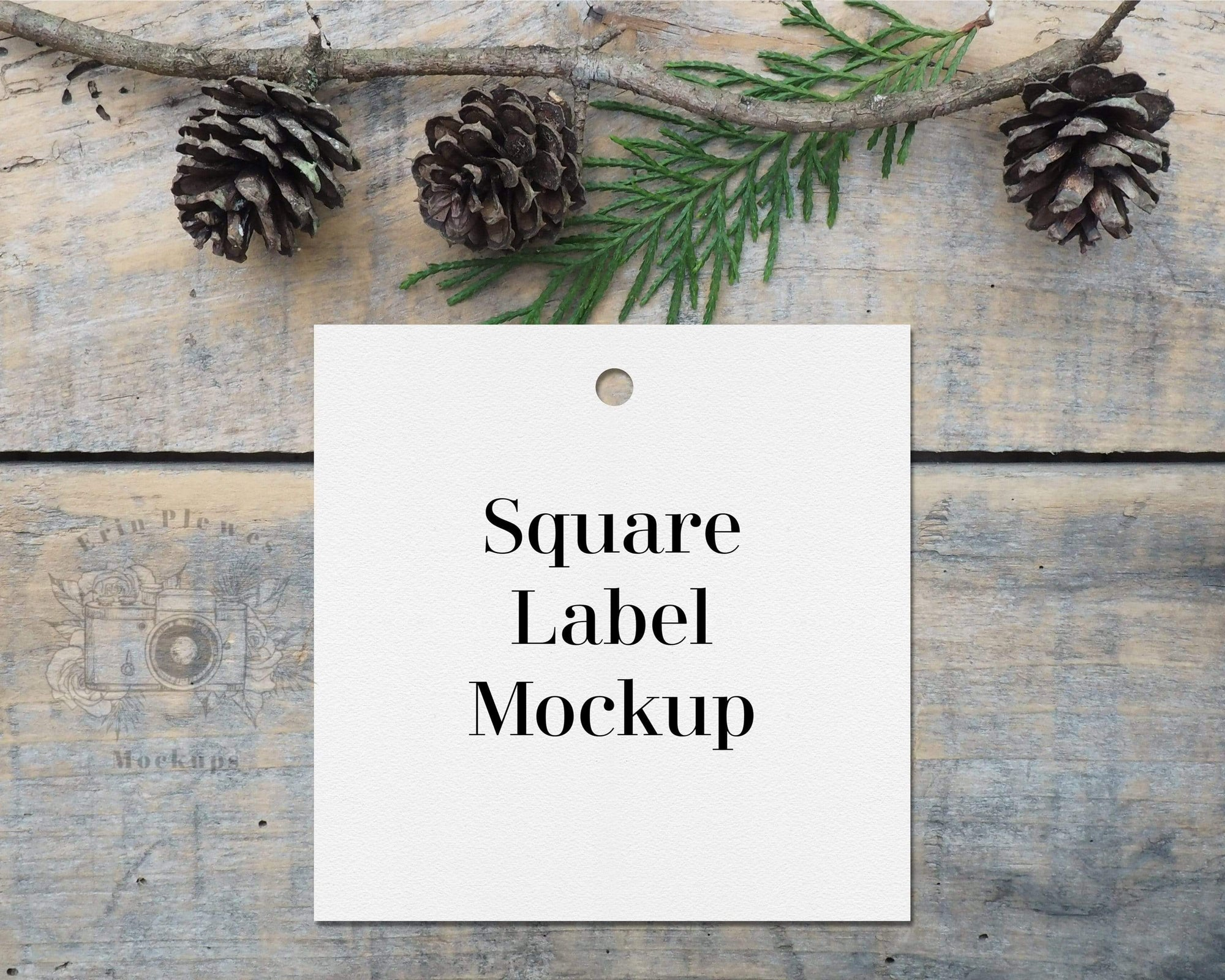 Erin Plewes Mockups Square label mockup, Christmas gift tag mock up for presents and Wedding stock photography, Jpeg instant Digital Download