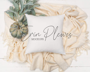 Erin Plewes Mockups Square Pillow Mockup, Pillow Mockup with blanket and pumpkin for fall lifestyle stock photo, White pillow mock up, Jpg digital download
