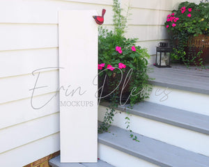Erin Plewes Mockups Wood Sign Mockup, White Porch Sign Mock Up, Vertical Sign Mock-up 1' x 4',  Wood Frame Mockup, Styled Product Stock Photography