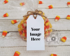 Erin Plewes Mockups Halloween gift tag mockup, Party favor mock-up for thank you gift lifestyle stock photo, JPG and PNG instant Digital Download