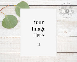 A2 Greeting Card Mockup, Thank You Card Mock-up, Card Flatlay on Rustic Wood, Jpeg Instant Digital Download