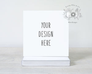 Square Card Mockup with Boxed Set, Square Invitation Mock Up with White Envelopes for Rustic Wedding, Lifestyle Stock Photo Jpeg Template
