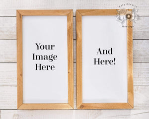 Erin Plewes Mockups Sign Mockup, Wood Sign Mock-up, 2 Signs on white rustic wood stock photo, Farmhouse Mock Up for your svg