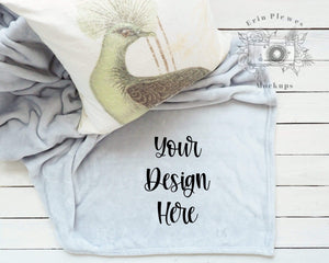 Erin Plewes Mockups Mockup Throw Blanket Mockup, Gray Fleece Blanket Mock Up, Farmhouse Style Stock Photo, Silver Blanket Flat Lay Template