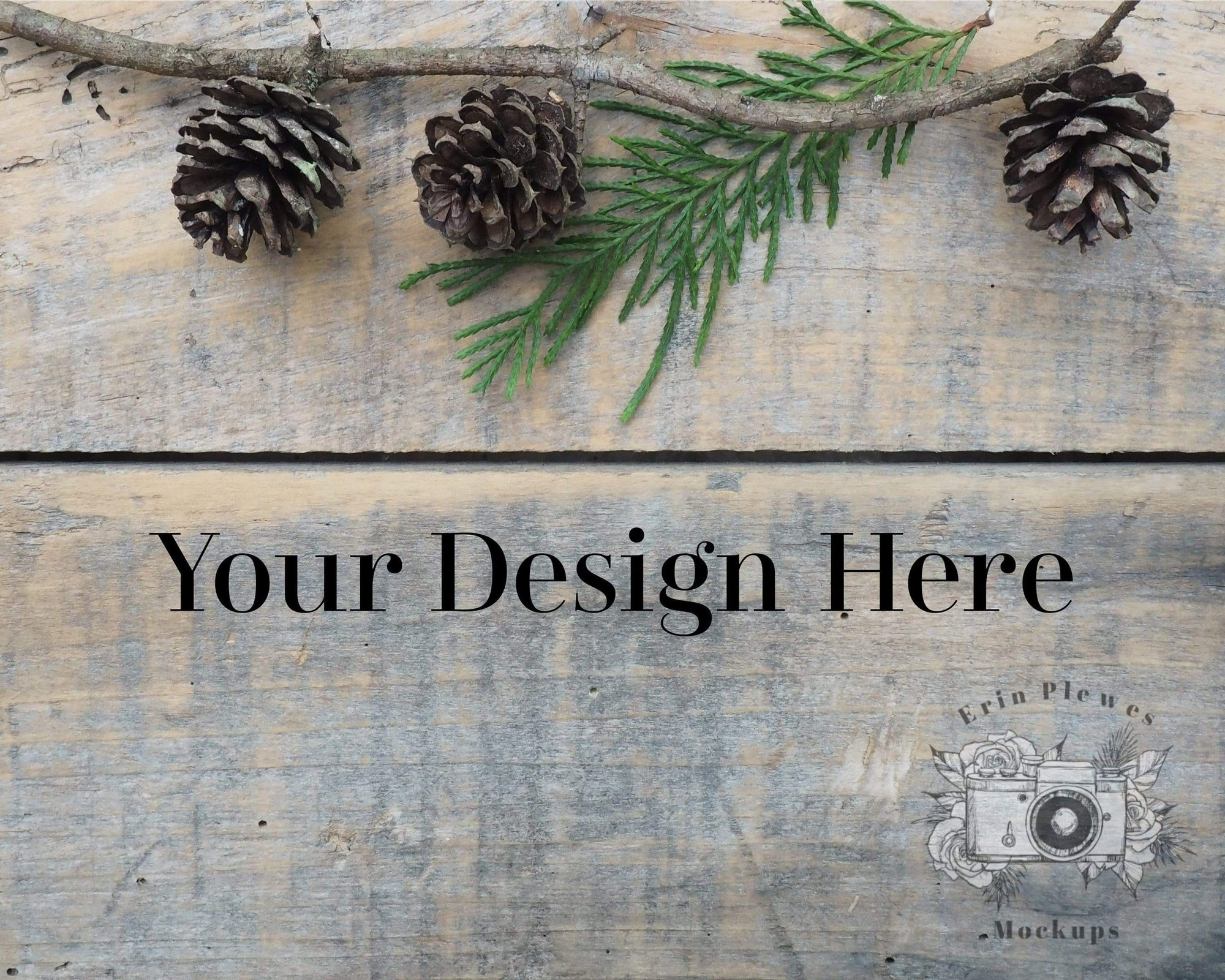 Erin Plewes Mockups Wood Background Mockup, Christmas Styled Stock Photo, Rustic Barn Wood Background Paper, JPG Digital Download Blank Template