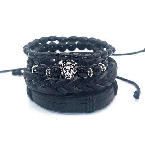 4 Piece Black Bracelet Set