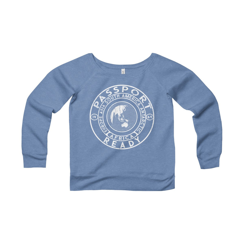 Passport Ready Wide Neck Sweatshirt Blue Triblend