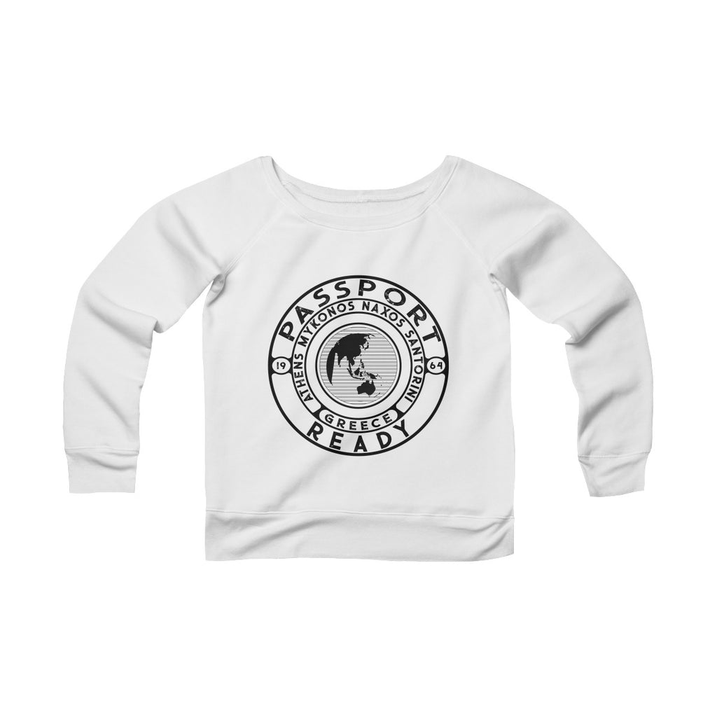Passport Ready Wide Neck Sweatshirt | Greece White