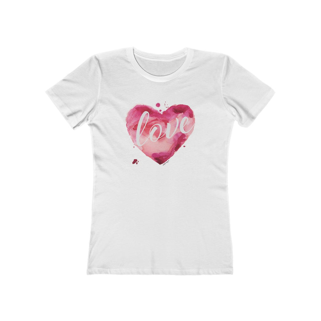 Watercolor Love Boyfriend Tee White