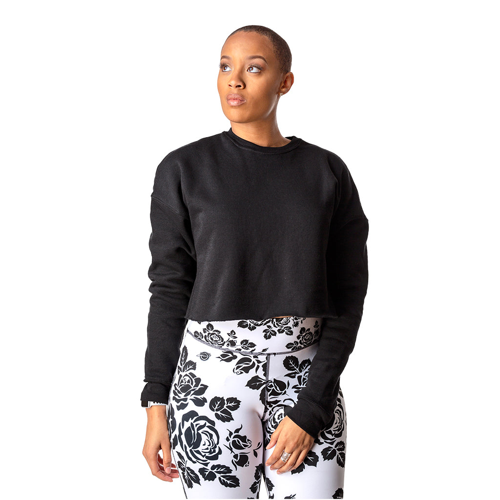 Cropped Fleece Sweatshirt Black