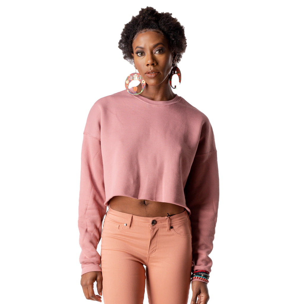 Cropped Fleece Sweatshirt Mauve