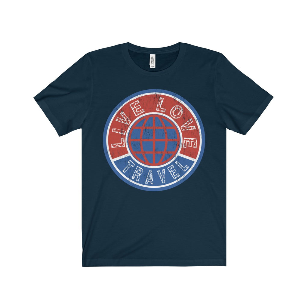 Live Love Travel Unisex Short Sleeve Tee - Navy