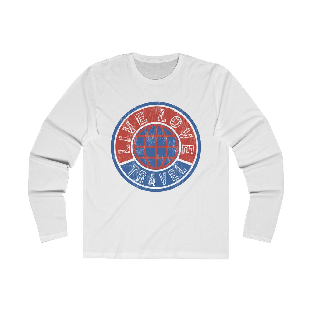 Live Love Travel Men's Long Sleeve Crew Tee Solid White