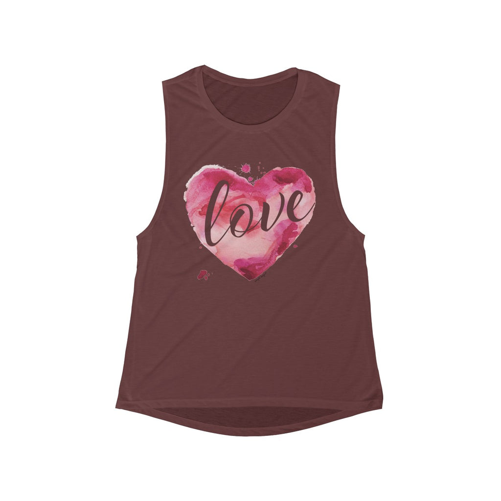 Watercolor Love Scoop Muscle Tank