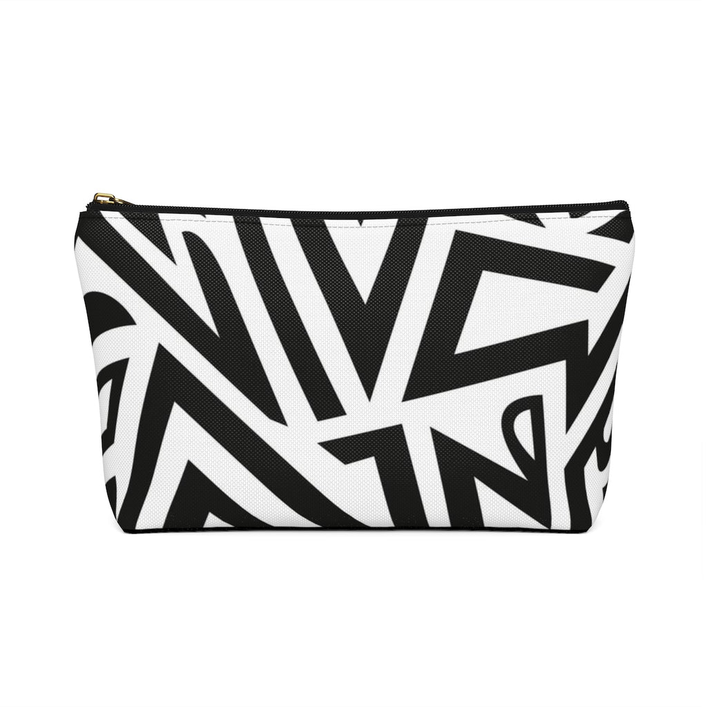 Monochrome African Cosmetic Travel Bag/Packing Cube Back View