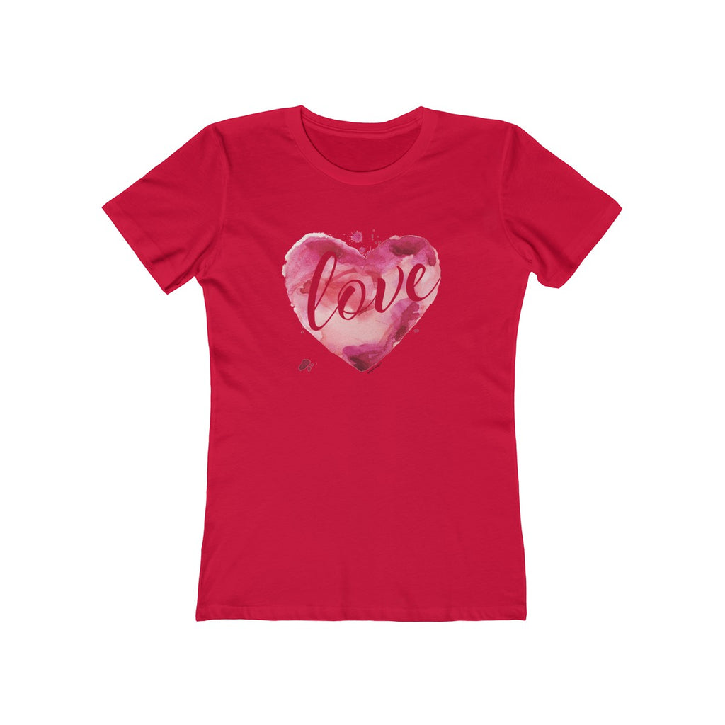 Watercolor Love Boyfriend Tee Red