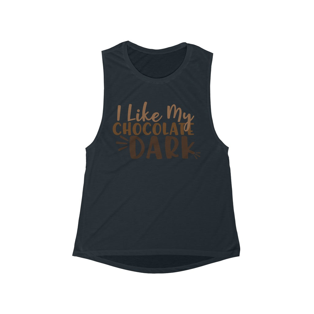 I Like My Chocolate Dark Scoop Muscle Tank Black