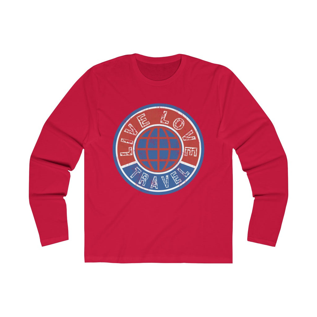 Live Love Travel Men's Long Sleeve Crew Tee Solid Red