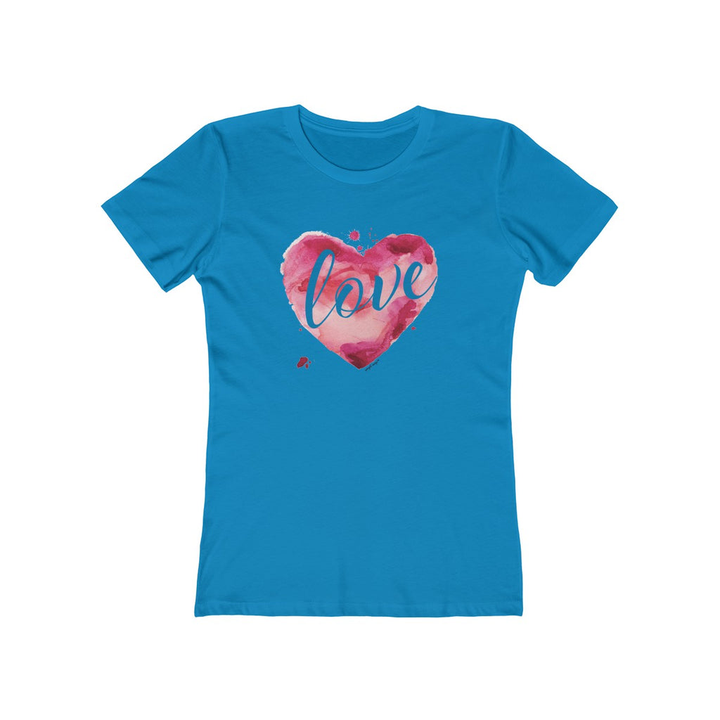 Watercolor Love Boyfriend Tee Solid Turquoise