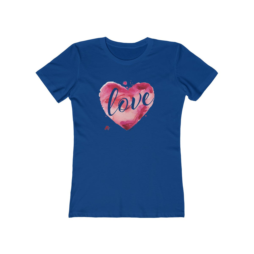 Watercolor Love Boyfriend Tee Solid Royal Blue