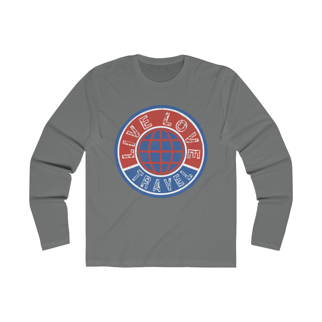 Live Love Travel Men's Long Sleeve Crew Tee Solid Grey