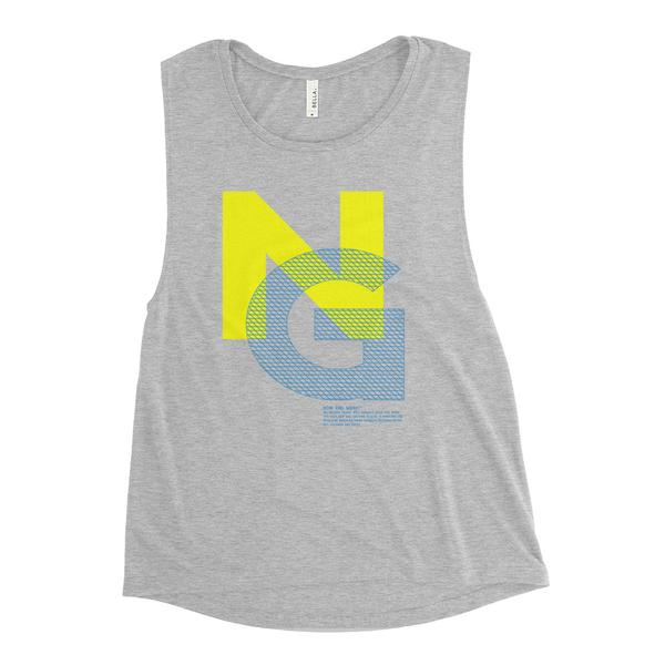 Noir Girl Mesh Muscle Athletic Grey Tank - Yellow/Blue